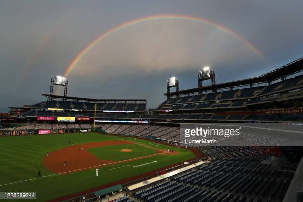 Rainbow is seen over the stadium in the first inning during a game between the Philadelphia Phillies and the Washington Nationals at Citizens Bank...