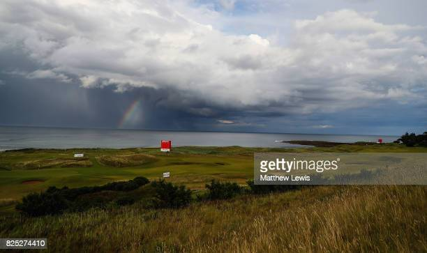 A rainbow is seen prior to the Ricoh Women's British Open at Kingsbarns Golf Links on August 1 2017 in Kingsbarns Scotland