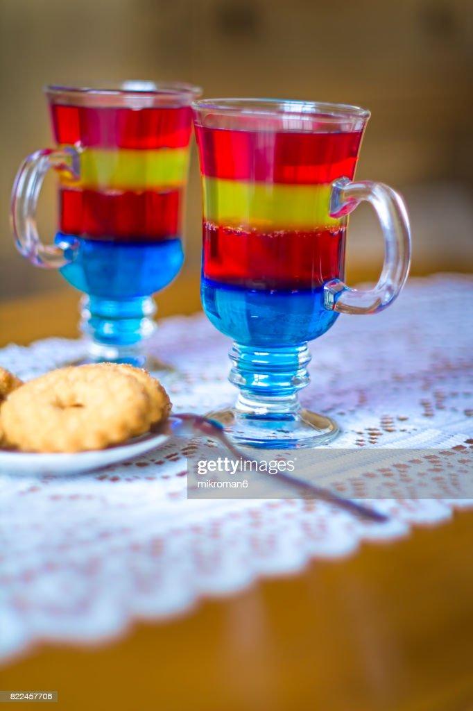 Rainbow Jello , homemade dessert : Stock Photo