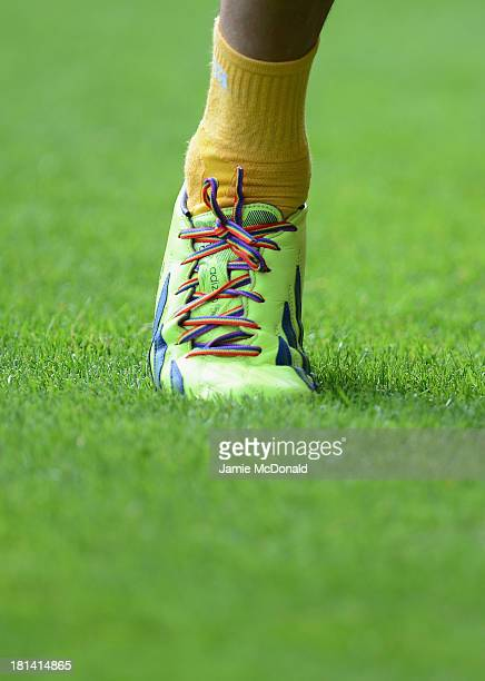 Rainbow laces are pictured during the Barclays Premier League match between Norwich City and Aston Villa at Carrow Road on September 21 2013 in...