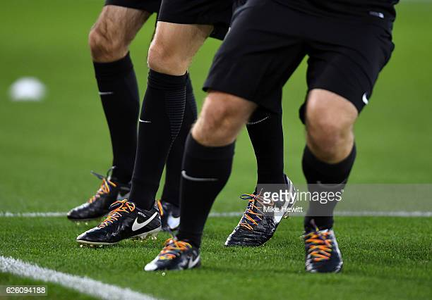 Rainbow laces are seen during the Premier League match between Watford and Stoke City at Vicarage Road on November 27 2016 in Watford England