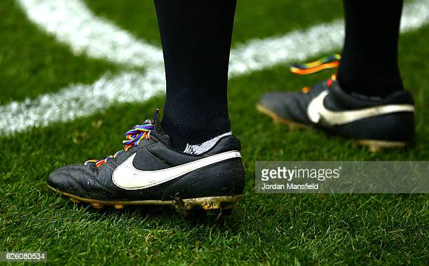 Rainbow laces are seen on the boots of a offical during the Premier League match between Watford and Stoke City at Vicarage Road on November 27 2016...