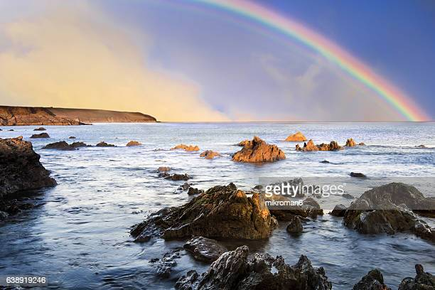 rainbow landscape in beautiful  irish landscape scenery. dungarvan, co. waterford, ireland - county waterford ireland stock pictures, royalty-free photos & images