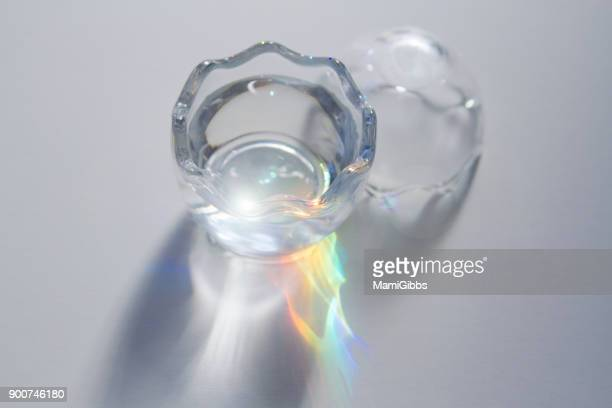 Rainbow light reflected in water