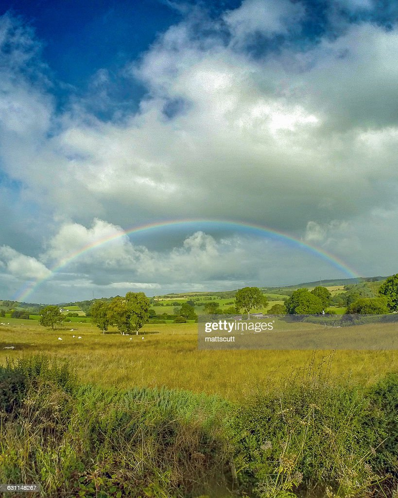 Rainbow lover landscape, Wales, UK : Stock Photo