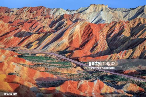 rainbow mountain, zhangye danxia landform, gansu china - 甘粛省 ストックフォトと画像