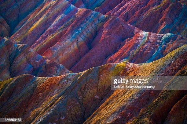 rainbow mountains, zhangye danxia geopark, china - rainbow stock pictures, royalty-free photos & images