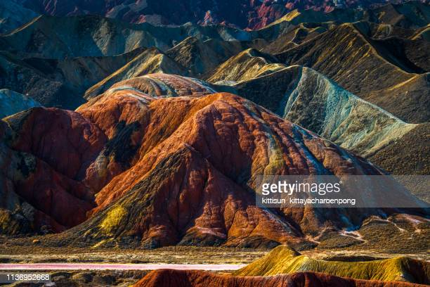 rainbow mountains, zhangye danxia geopark, china - geology stock pictures, royalty-free photos & images
