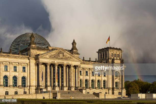 Rainbow near the Reichstag (parliament building) in the german capital Berlin