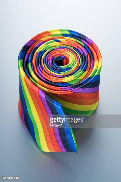 Rainbow Necktie Rolled Up