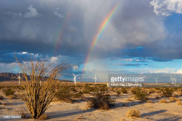 rainbow, ocotillo, and wind turbines in ocotillo, california - anza borrego desert state park stock pictures, royalty-free photos & images