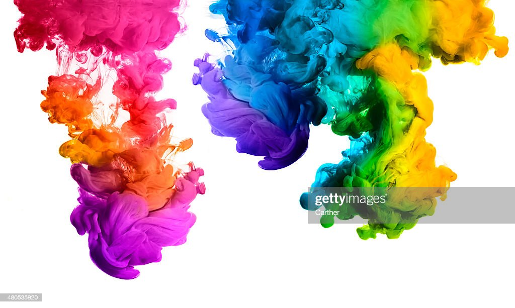 Rainbow of Acrylic Ink in Water. Color Explosion : Stockfoto