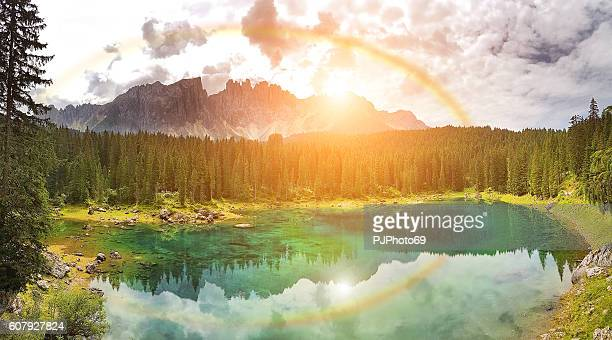 Rainbow on Carezza Lake  - Trentino Alto Adige - Italy