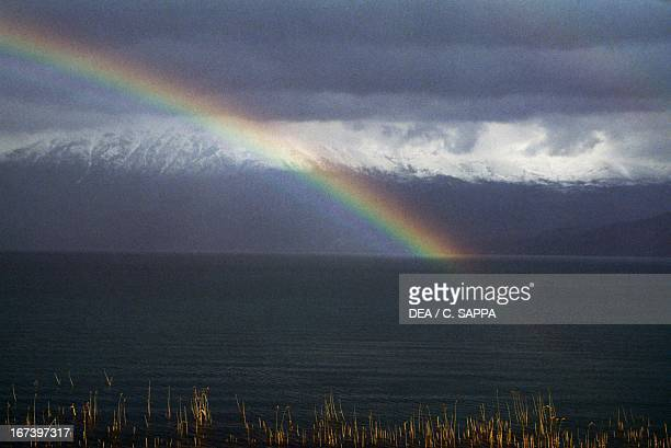 Rainbow on Lake Ohrid at Pogradec with Macedonian mountains in the background Albania