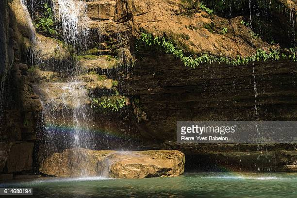 Rainbow on waterfall