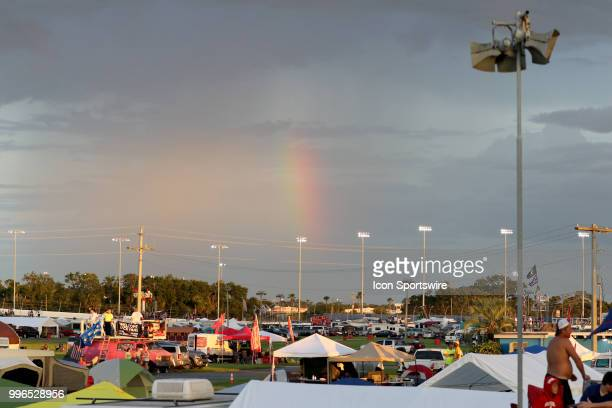 A rainbow outside the speedway during the Coke Zero 400 Monster Energy Cup Series race on July 7 at Daytona International Speedway in Daytona Beach FL
