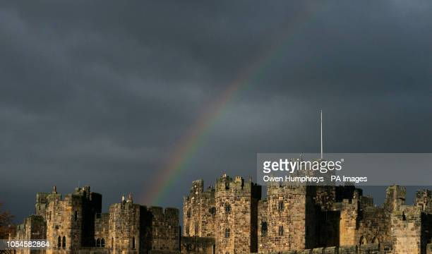 A rainbow over Alnwick castle in Northumberland