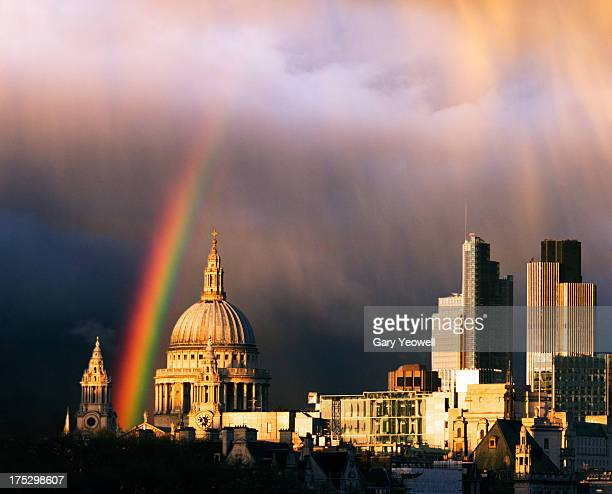 rainbow over city of london and st paul's - international landmark stock pictures, royalty-free photos & images