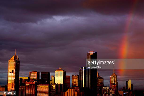 Rainbow over city of Melbourne