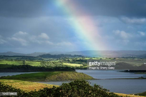 rainbow over donegal bay, ireland - county donegal stock photos and pictures