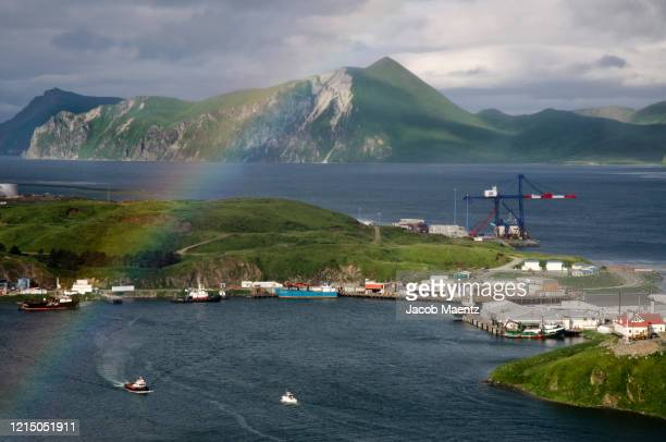 rainbow over dutch harbor, alaska - bering sea stock pictures, royalty-free photos & images