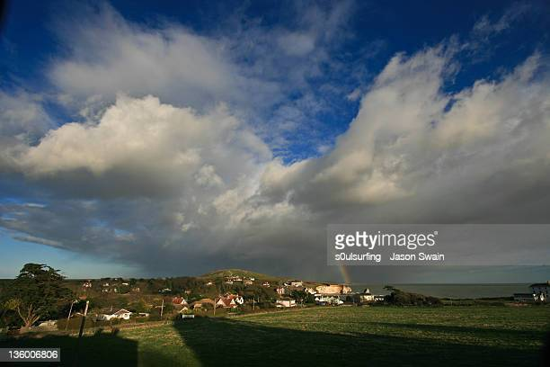 rainbow over freshwater bay - s0ulsurfing stock pictures, royalty-free photos & images