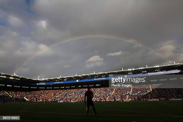A rainbow over King Power Stadium during the Premier League match between Leicester City and Arsenal at the King Power Stadium on August 20th 2016 in...