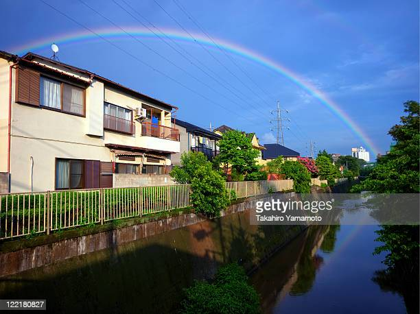 rainbow over meguro river, tokyo - suginami stock photos and pictures