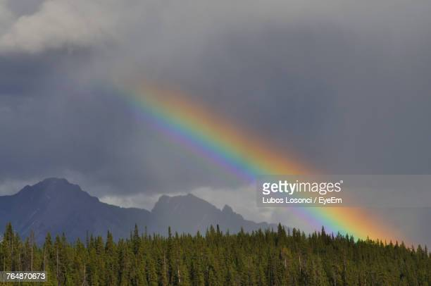 Rainbow Over Mountain Against Sky