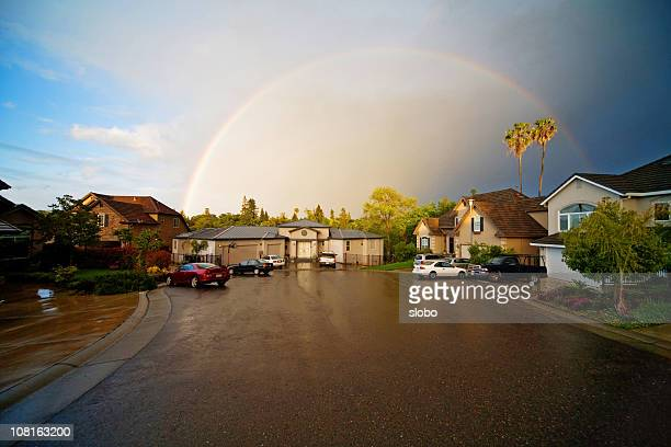 rainbow over my neighborhood - cul de sac stock pictures, royalty-free photos & images