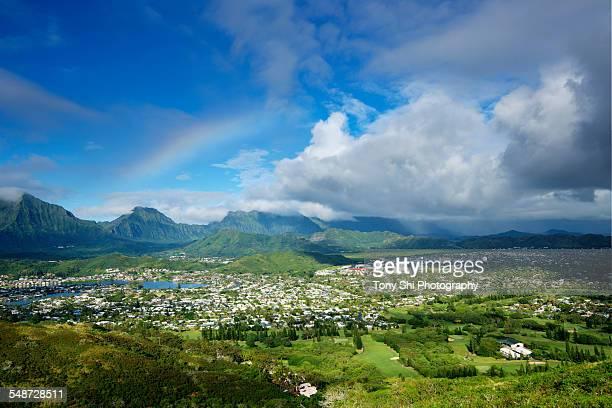 rainbow over olomana, kailua, lanikai, hawaii - kailua stock pictures, royalty-free photos & images