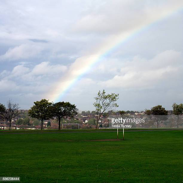 A rainbow over Parson Cross park Sheffield South Yorkshire UK