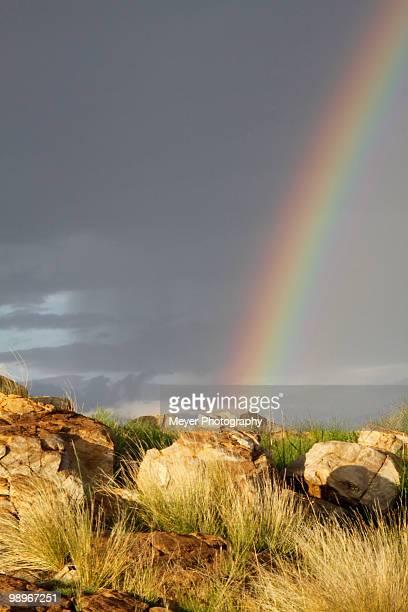Rainbow over rocky landscape in Johannesburg, Gauteng Province, South Africa