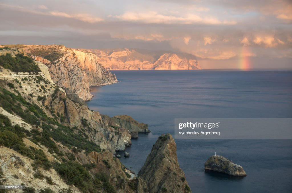 Rainbow over sea coast, Black Sea, Crimea : Stock Photo