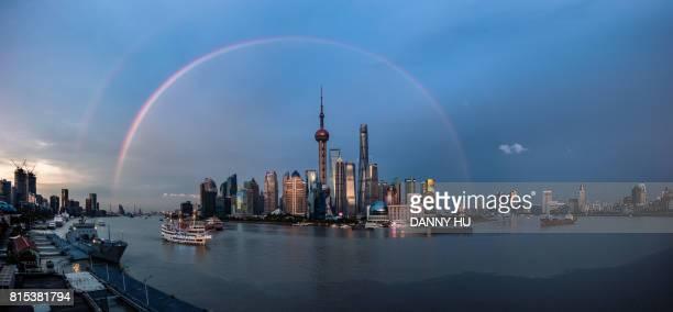 Rainbow over Shanghai skyline