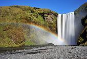 Rainbow over Skogafoss Waterfall