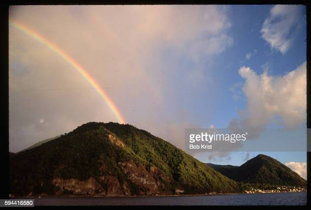 rainbow over soufriere - dominica stock pictures, royalty-free photos & images