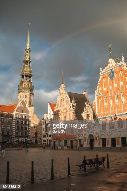 Rainbow over St Peters Church and House of the Blackheads in Riga, Latvia