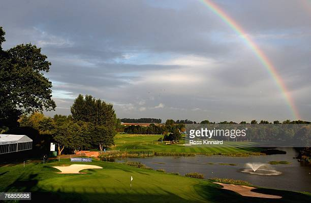 A rainbow over the 18th green prior to the Quinn Direct British Masters on the Brabazon Course at the Belfry on September 19 2007 in Sutton Coldfield...