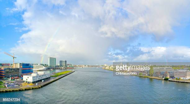 Rainbow over the city of Amsterdam.