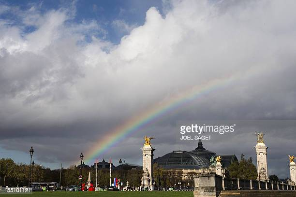 A rainbow over the Grand Palais in Paris on November 1 2012 AFP PHOTO / JOEL SAGET