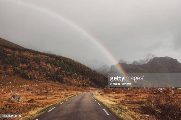 A rainbow over the road and mountains after the storm in Norway