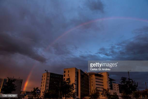 A rainbow over the San Cecilio Clinical Hospital on October 21 2020 in Granada Spain The cardiology plant of San Cecilio Clinical Hospital has...