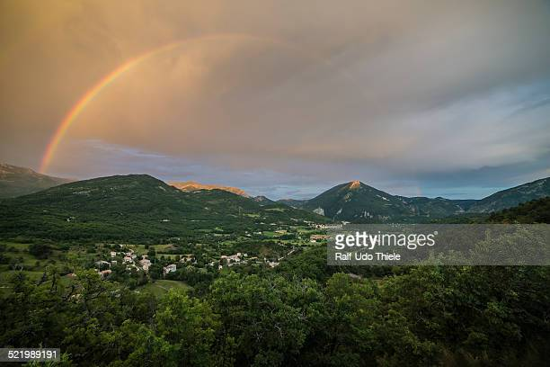 rainbow over the valley of castellane, provence, department alpes-de-haute-provence, provence-alpes-cote d'azur, france - alpes de haute provence stock photos and pictures