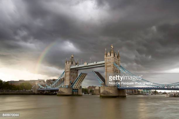 Rainbow over Tower Bridge after storm