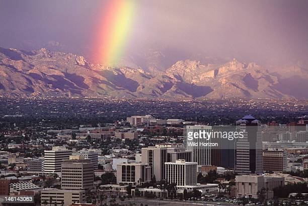 Rainbow over Tucson with Santa Catalina mountains behind Arizona USA As of September 2011 this view Tucson's skyline has changed litte