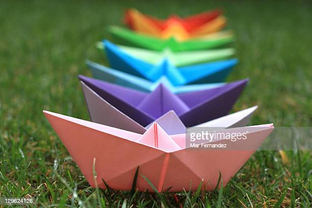 Rainbow paper boat