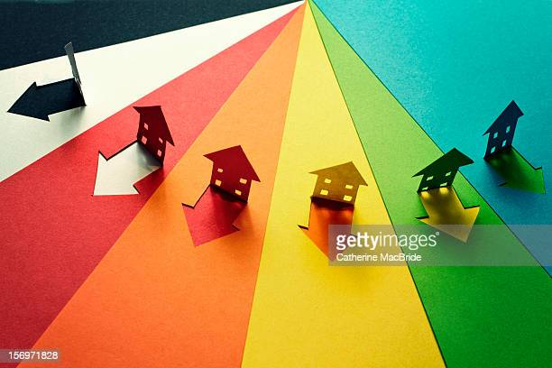 rainbow paper homes - catherine macbride stock pictures, royalty-free photos & images