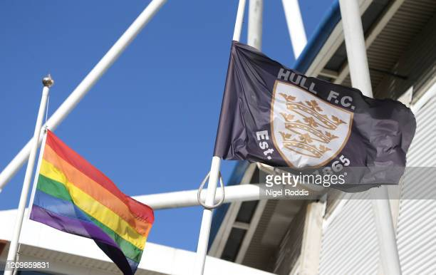 Rainbow Pride flags are seen outside the stadium prior to the Betfred Super League match between Hull FC and Catalan Dragons at KCOM Stadium on March...