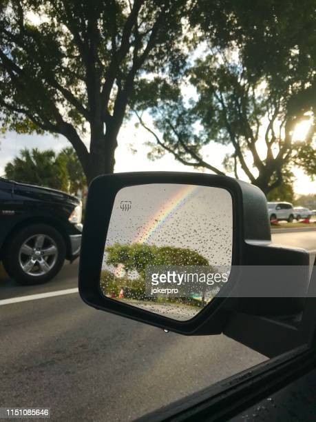 close up rainbow reflection side mirrow